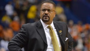 Dec 21, 2013; Saint Louis, MO, USA; Missouri Tigers head coach Frank Haith reacts to a call made during the game between the Missouri Tigers and the Illinois Fighting Illini during the first half at Scottrade Center. Mandatory Credit: Jasen Vinlove-USA TODAY Sports