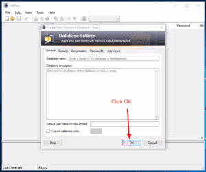 Leave Database Settings Default for KeePass Secure Database by Ellis Benus with Floating Ax Technologies Web Design and Development