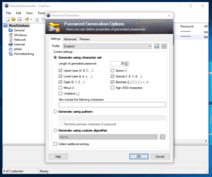 Password Generator in KeePass Database by Ellis Benus with Floating Ax Technologies Web Design and Development